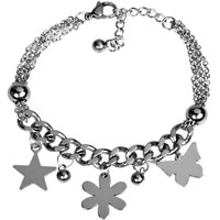 2016 Latest Design Women New Fashion Stainless Steel Wristband Star Butterfly Flower Rosary Chain Clasp Bracelet Custom Bangle
