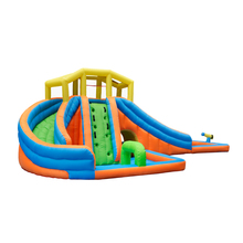 Wholesale large inflatable bounce double slide with pool custom for 5 kids logo manufacturer for 5 kids