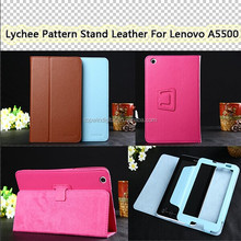 Lychee Pattern PU Flip Leather Stand Case For Lenovo A5500 8 Inch Tablet PC