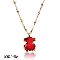 New designs red color bear pendant necklace stainless steel joyas en acero jewelry