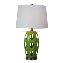 Mexico lime green pottery table lamp with round pierced lampstand and white barrel fabric lamp shade CE SAA UL