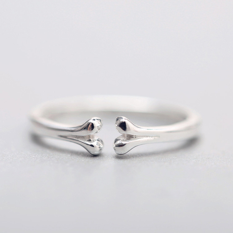 925 Sterling Silver Stackable Dog Bone Ring For Girls/Women