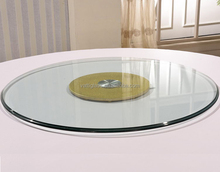 wholesale tempered glass round table with lazy susan diameter 800mm x 10mm/12mm(thickness) golden colour factory