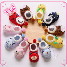 custom Europe popular knit brand name winter fashion low cost cute funny animal shape organic cotton warm socks shoes for baby