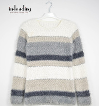 Stripe textured knit jumper for women