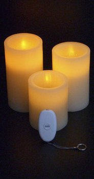 Set of 3 Remote Controlled LED Candles 4 - 5 - 6 Inch
