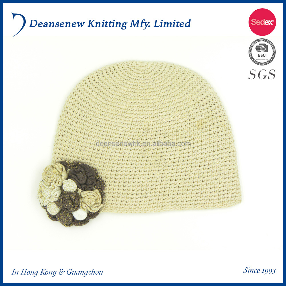 2016 Custom Made Fashion 100% Cotton Flower Pattern Warm Fall Winter Kids Child Girl Multi Color Crochet Knitted Beanie Hat