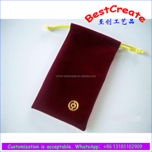 Lowest price wine red velvet strong gift pouches with hot foil stamping