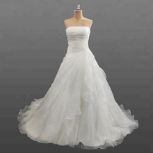 Ivory Wedding Dresses Cheap Strapless Pleated Organza Wholesale Wedding Gown in China