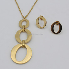 Simple Design Gold Plated Stainless Steel Polished Triple Open Oval Pendant Necklace Earrings Jewelry Set
