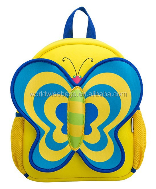 hot selling fancy school boy girl kids backpacks cute butterfly cartoon bag for kids children red green blue school