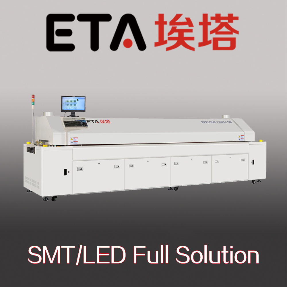 Large lead-free Hot Air 10 Temperature Zones SMT Reflow Oven Soldering Machine with PC