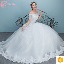 Suzhou Sexy Simple Crystal Beaded Ball Gown Wedding Dresses For Fat Woman