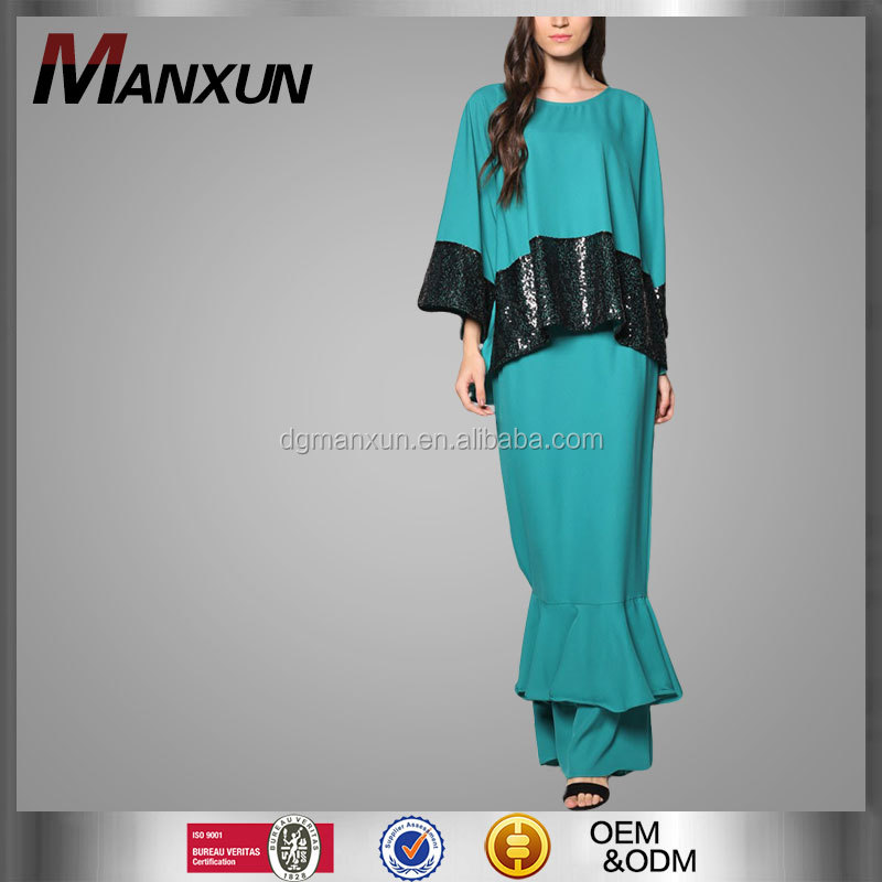 Women Islamic Clothing Wholesale Baju Kurung And Baju Melayu Sequin Stitching Peplum Muslim Dress