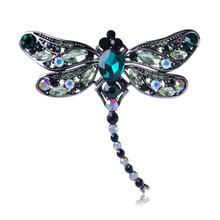 High Quality Crystal Dragonfly Broches for Women Girl Jewelry Scarf Pins Antique Silver Accessories Brooches