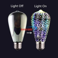 2017 New products Fancy LED Lamp Colorful 3.5W ST64 3D Fireworks Bulb