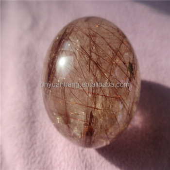 Natural rutilated quartz crystal ball/sphere+ wooden base