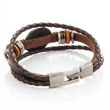 Cowhide Waxed Cotton Cord PU Wood twisted cord bracelet
