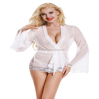 Lace Embroidery Sexy Erotic Lingerie Women Hot Transparent Dress Deep V-Neck Bow Baby Doll Sexy Lingerie Sleepwear Sex Clothes