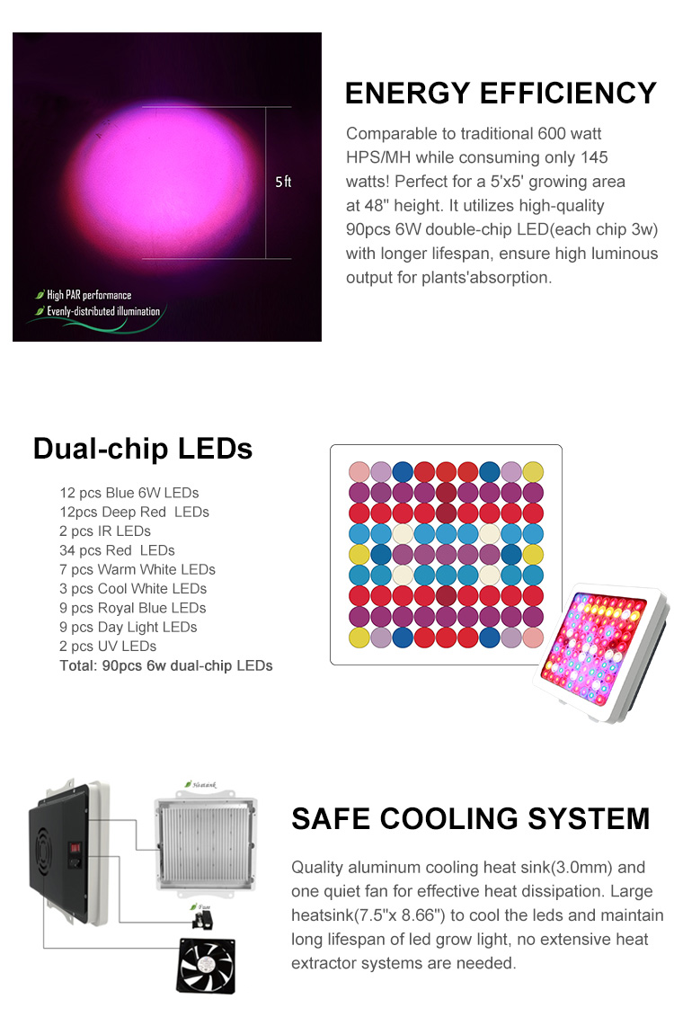 220v led grow light 540w with cooling fans and heatsink growing tomato seedlings california
