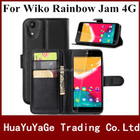 Free shipping phone cases PU Leather Frame Card Slot bag Wallet flip cover kickstand Case for Wiko Rainbow Jam 4G