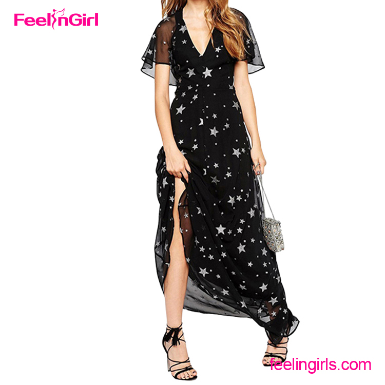 2016 Customized Printed V Neck Summer Chiffon Maxi <strong>Dress</strong>