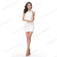 White cocktail knee-length dress sexy bodycon dress sexy party girl dress hot sale