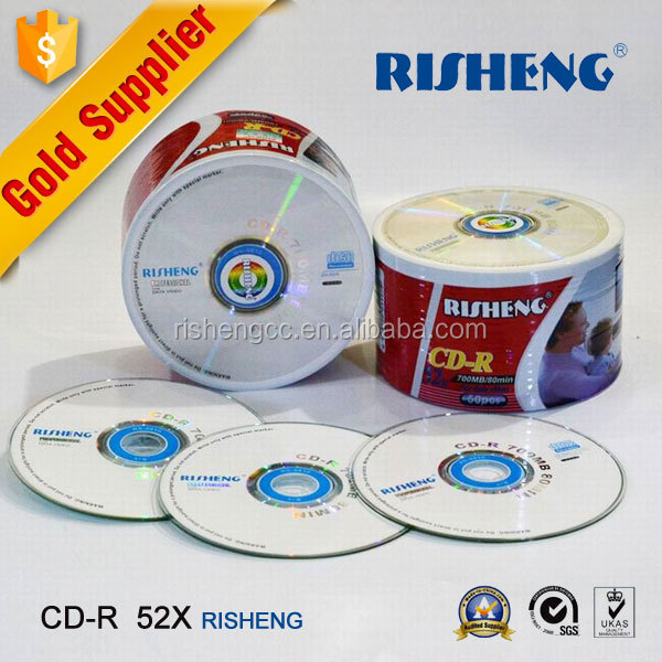 RISHENG wholesale 52X write once format blank CDR / blank cd dvd with printable / hard disk in stock
