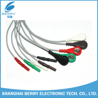 one piece 3 leads 6 pin snap electrode EKG/EMG/EEG/ECG cable lead wire