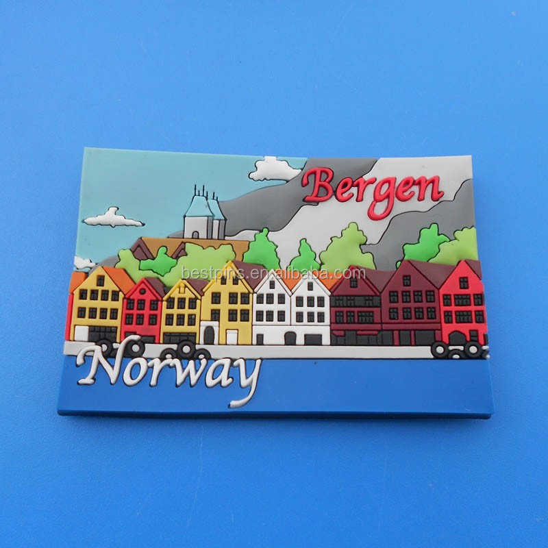 Bergen city Customised OEM Design Travel tourist Souvenir Fridge Magnets for Norway country