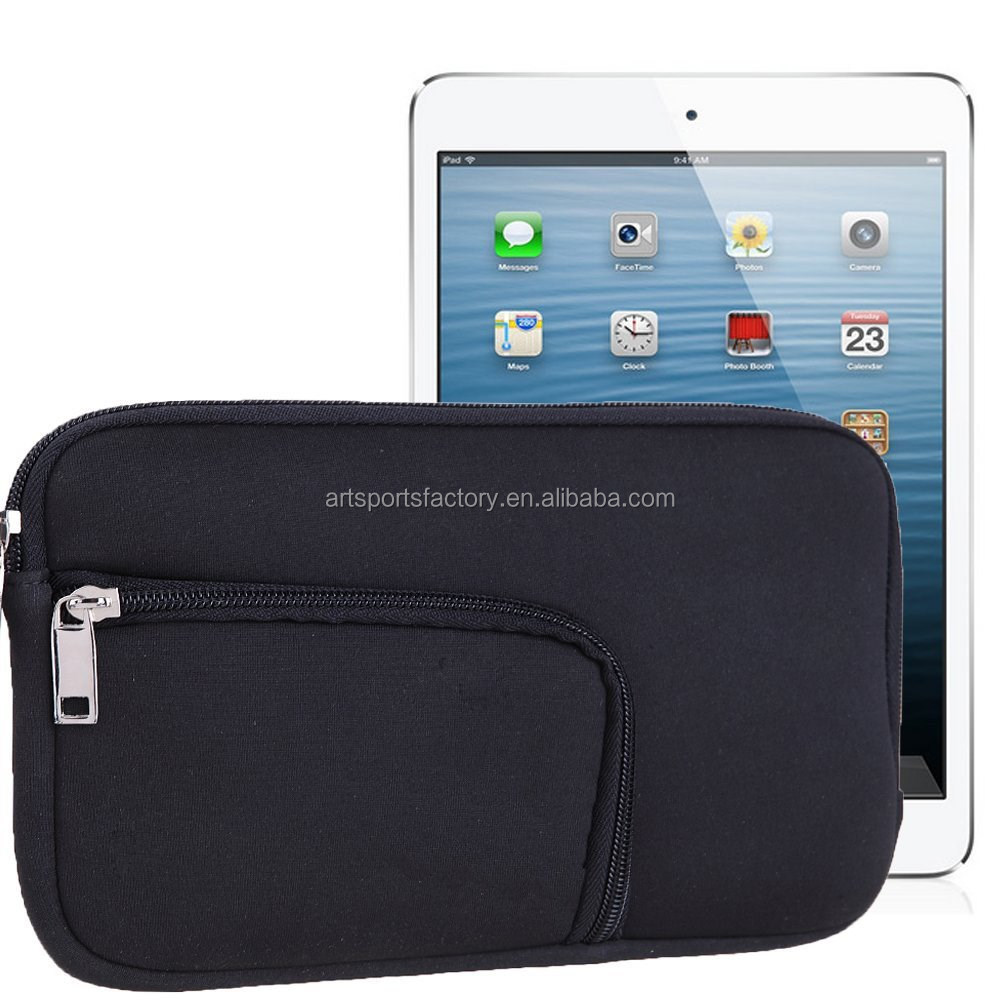 factory price neoprene tablet sleeve case cover pouch with pocket fit for Ipad Mini