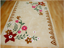 Tianjin 2015 Factory price flower pattern washable hand carved area rug