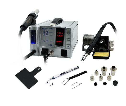 lead-free 3 in 1multi-function repairing station of Aoyue Int2738A+, Combines hot air gun and smoke absorbing soldering iron.