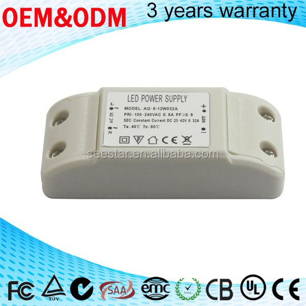 high quality 12w 110V / 220v plastic housing 300ma dimmable constant current led driver for led down lamp