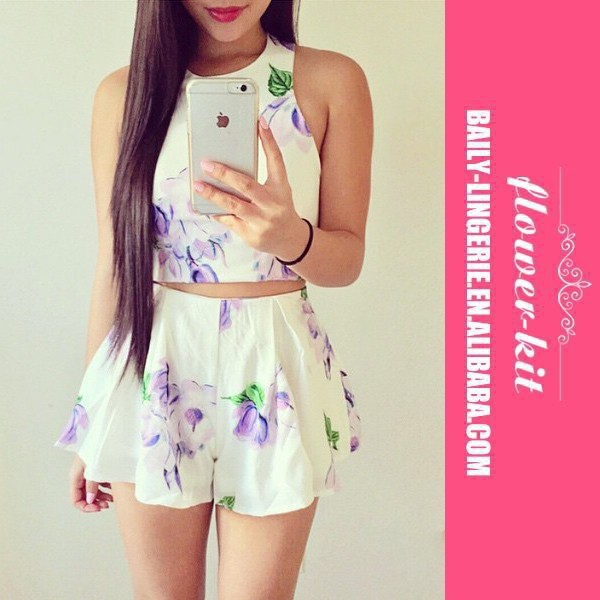 New 2015 Summer Fashion Sexy Women Clothing Two Piece Sets Print Sleeveless Tops+Loose Shorts Skirts