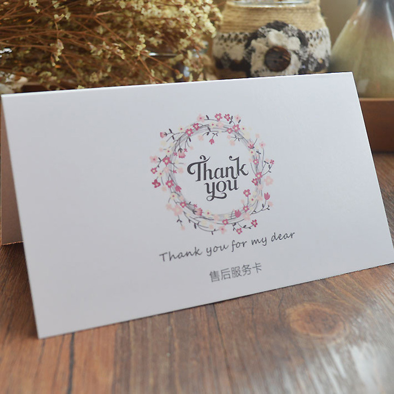 custom printing A5 size art paper folded thank you card for online stores