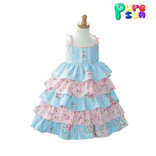 OEM princess toddler summer ruffle floral printed boutique party dresses for kids girls