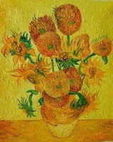 Factory Supply Hand-painted Van Gogh reproduction sunflower Oil Painting vg-01