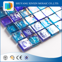 china supplier blue glossy brick pattern glass mosaic tile for swimming pool