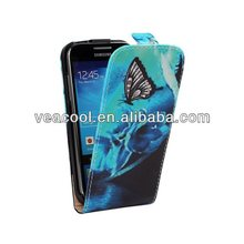 Blue Butterfly Flip PU Phone Leather Case for Samsung Galaxy s4 mini i9190 Case