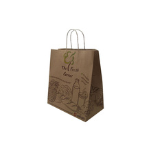 Dongguan custom brown craft paper carry bag with twist handle China suppliers