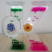 Wholesale OK Shape Creative Dual Color Oil Dynamic Delicate Timer Acrylic Hourglass