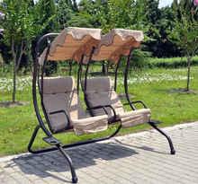 Outdoor furniture patio double swing chair with canopy