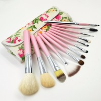 2015 latest style flower packing 12 pcs Make Up Brush Sets,high quality and hot selling makeup tools