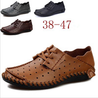 ZY1710A RHand-stitched suture soft hollow cowhide men genuine leather shoes