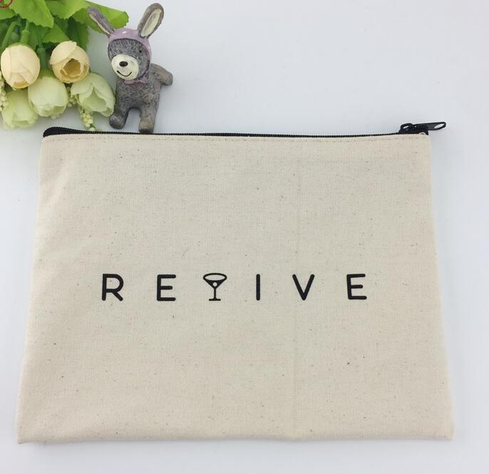 Fashional customized logo printing cotton canvas zipper make up bag