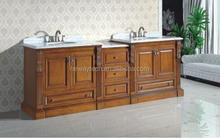 High quality floor standing oak wood lowes double sink vanity/vanity basin