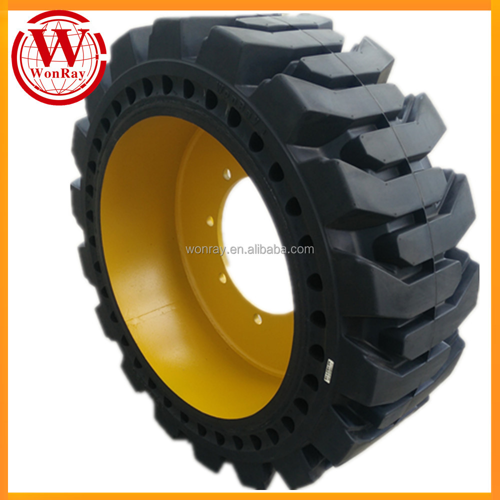 No-puncture Cushion Skid Steer Loader Telehandler Solid Tire 12-16.5