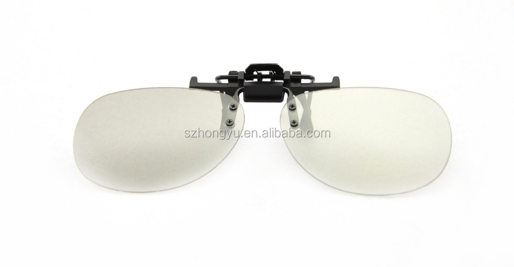 Clip On Circular Polarized passive 3D Glasses For Passive 3D cinema