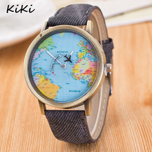 >>>Flight Airplane Travel World Denim Strap Quartz Watches Women Dress Wristwatch Gifts Bronze World Map Watch